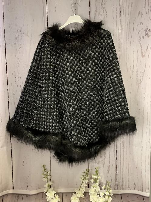 Grey/ black poncho