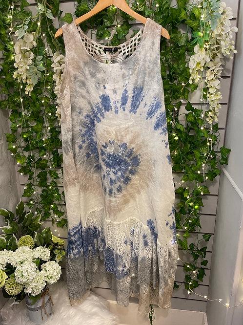 Blue Lace tie dye dress