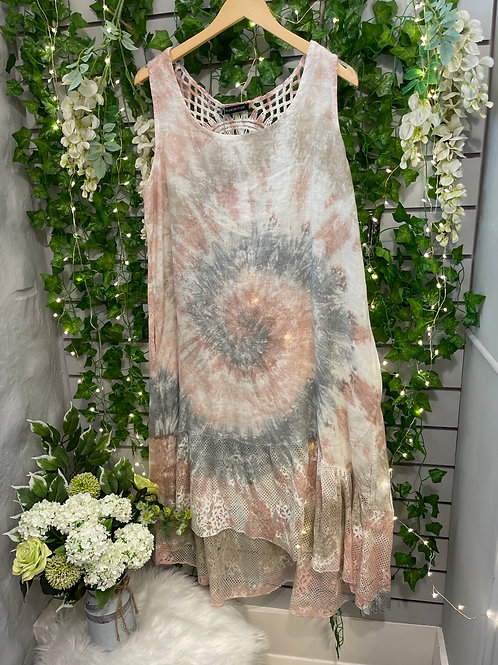 Stone Grey Lace tie dye dress
