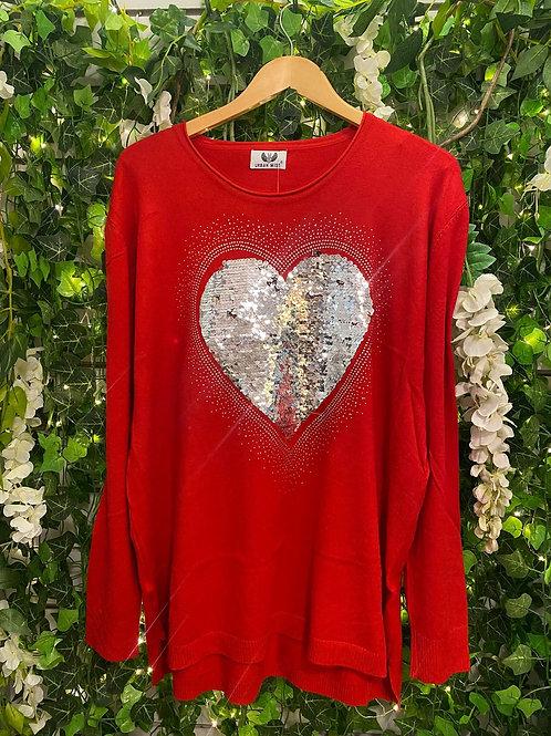 Sequine  heart jumper red