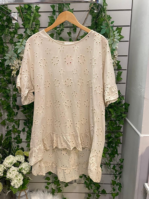 Flower embroidered button top