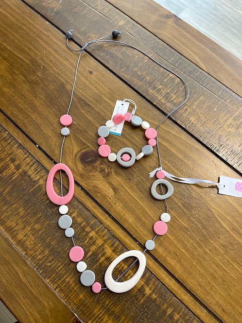 Pink and grey Multi circle necklace