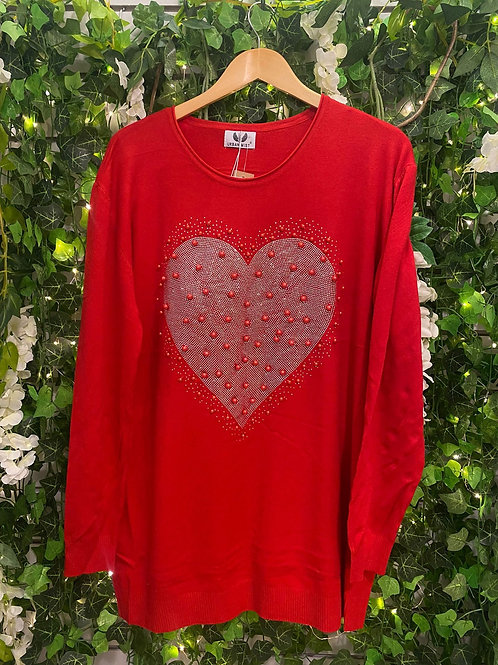 Pearl heart jumper red