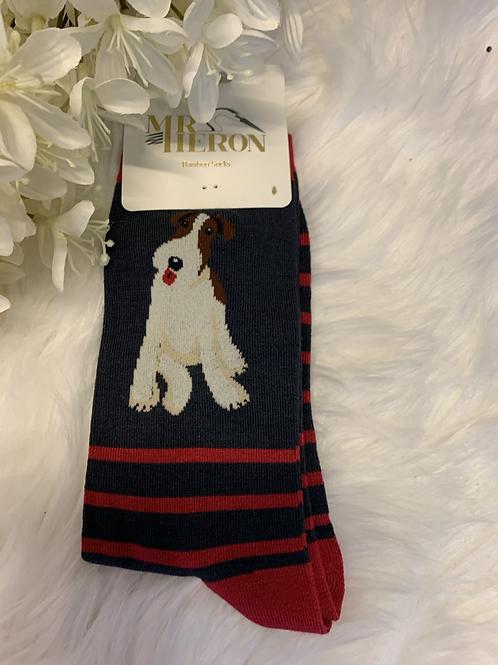 Men's stripey dog socks red
