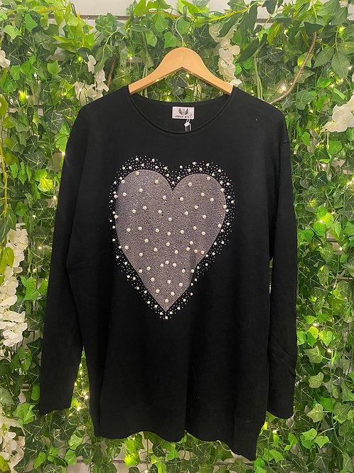 Black ordeal heart jumper