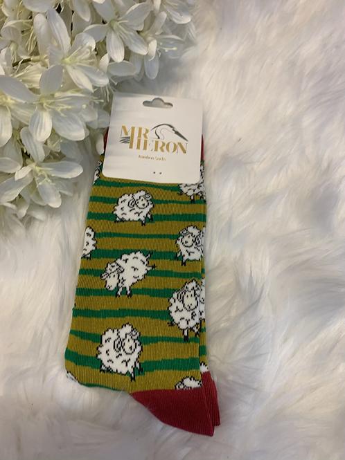 Men's green sheep socks
