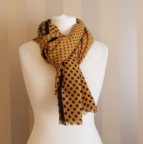 4feb414ee Mustard and brown spotted scarf