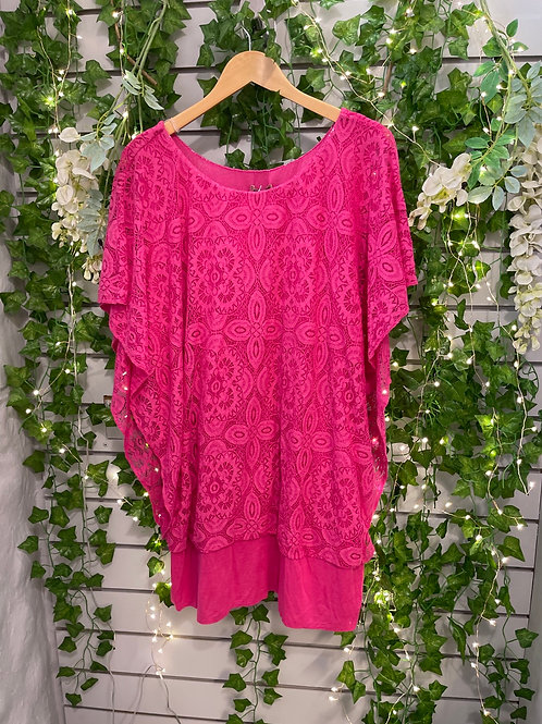Lace stretchy top fushcia
