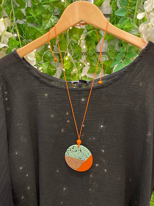 Orange and mint disc necklace