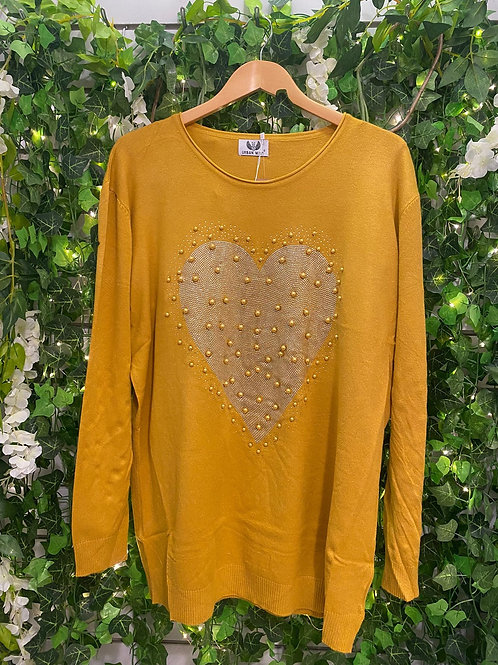 Mustard Pearl heart jumper
