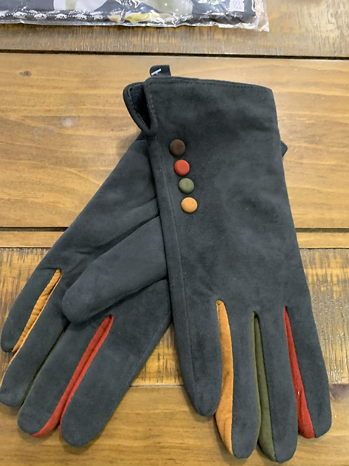 Grey button leather gloves