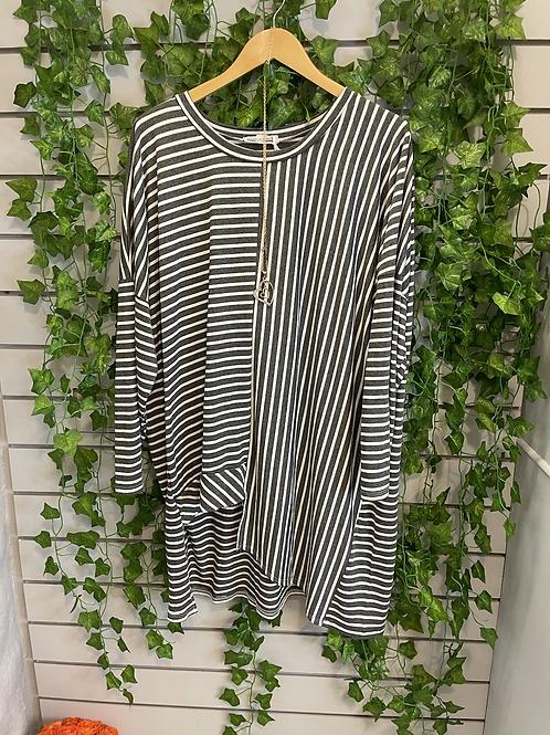 Grey and white multi stripe top