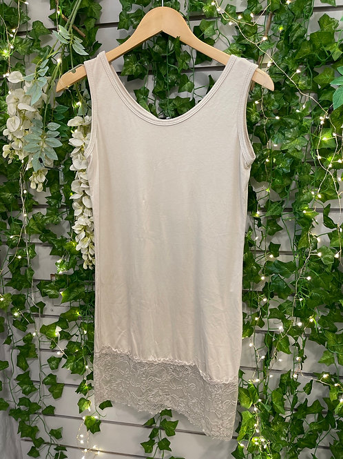 Lace vest top beige plus size