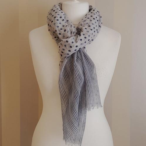 9d8adb860 Navy and grey scarf with a gradual polka dot.