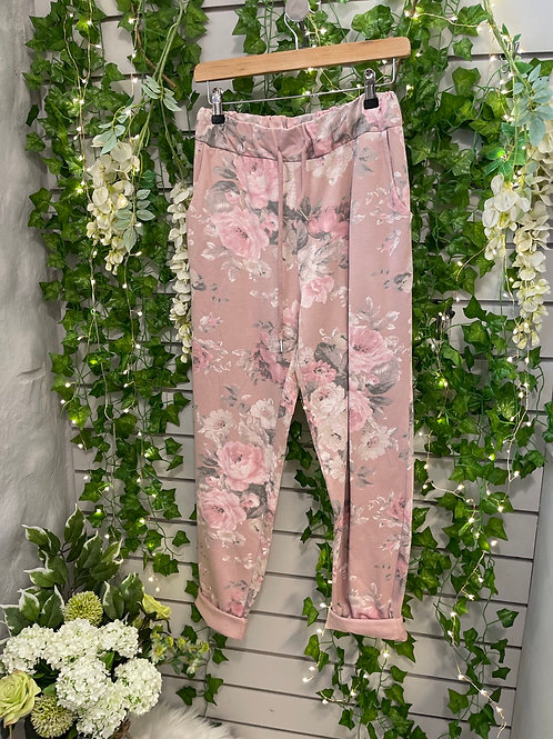 Plus size flower joggers pink