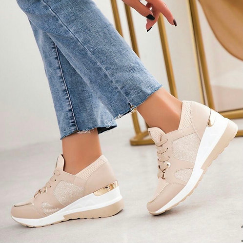 Sparkle wedge trainers