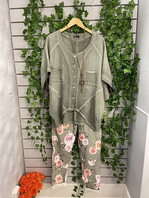 Khaki Flower magic trousers