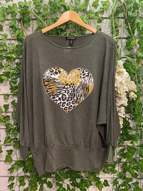 Grey heart fine knit