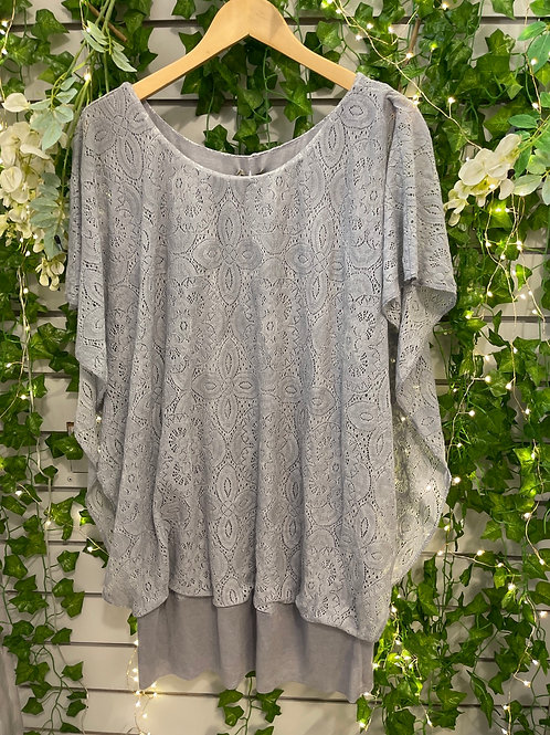 Lace stretchy top grey
