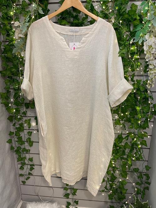 sleeve linen dress cream