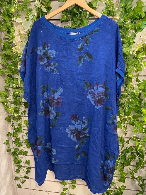 Flower tunic royal blue