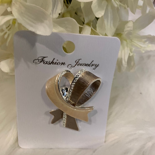 Brown ribbon magnetic brooch