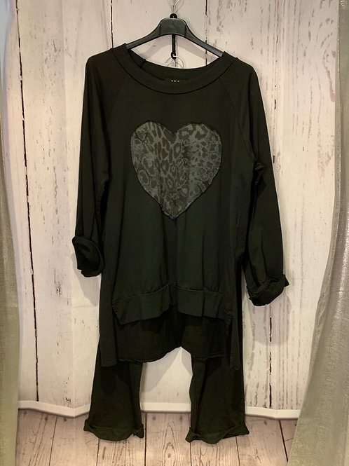 Leopard heart loung suit