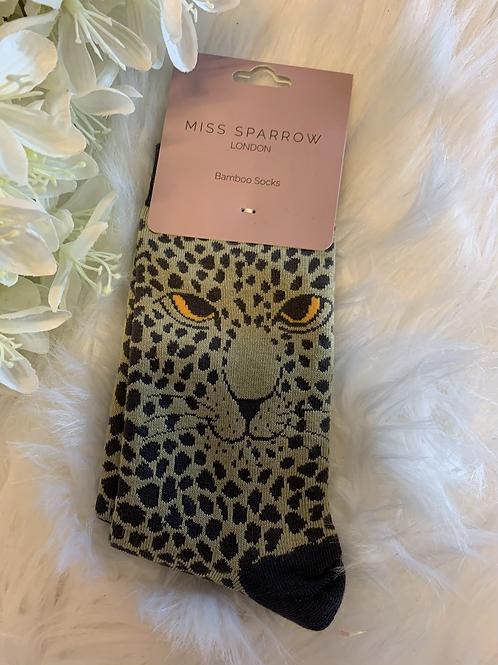 Green leopard socks