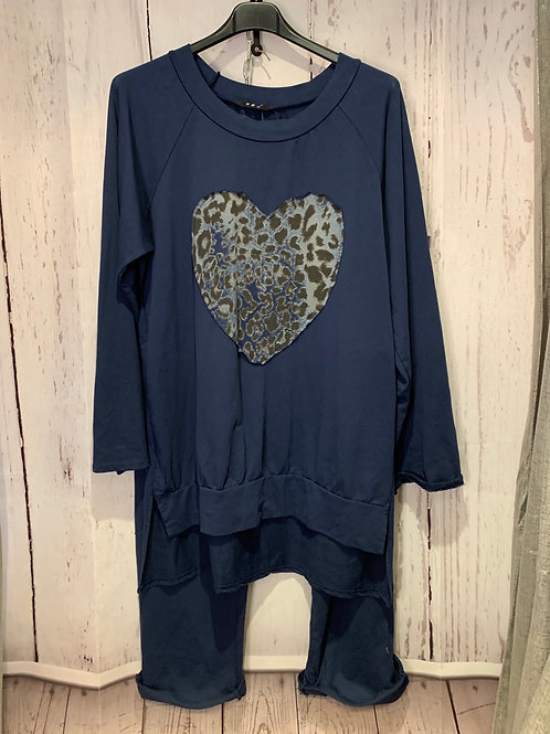 Leopard heart loung suit