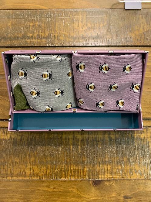 Mens bee socks gift box