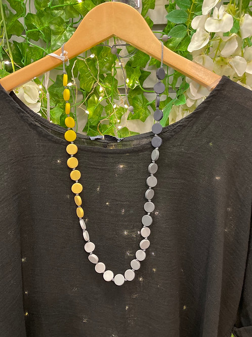 Grey and yellow disc necklace