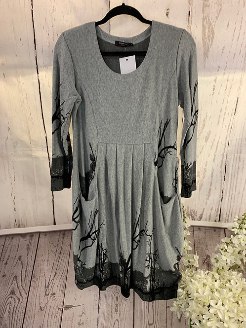 Pleat front branch tunic