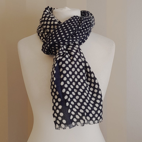 98ba781d1 Navy & cream spotted scarf