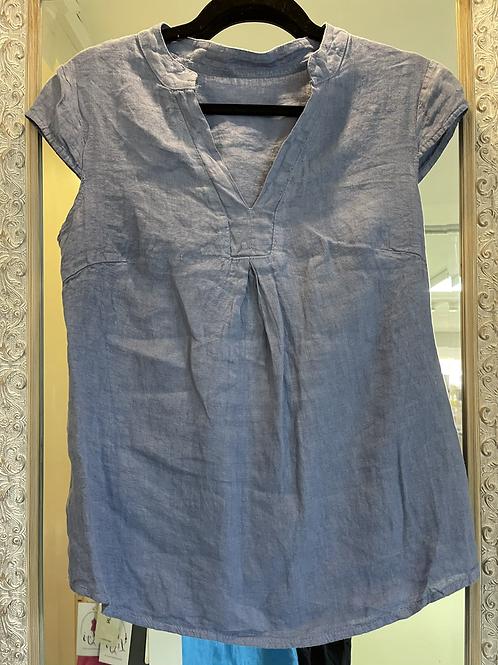 Denim V neck linen  top