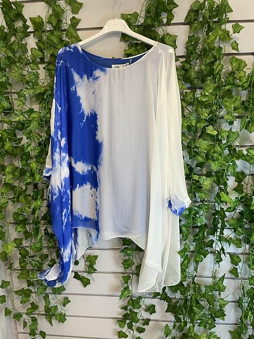 Silk tie dye top