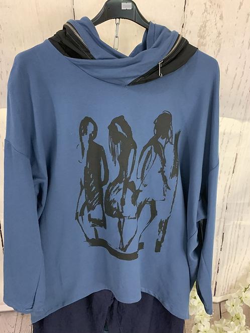 Lady zip hooded top