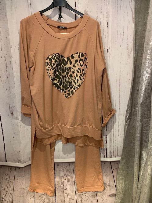 Leopard heart lounge suit