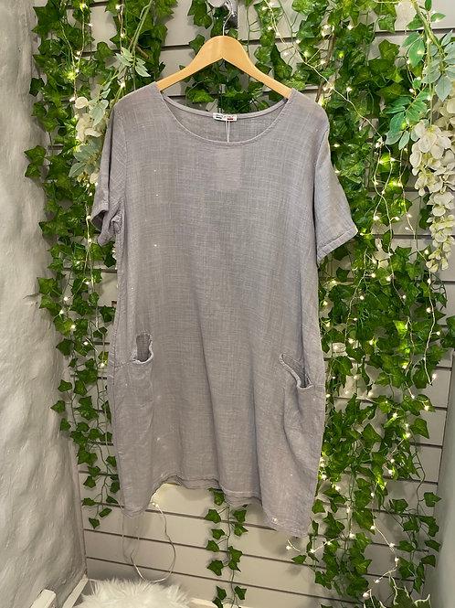 Front pocket linen dress light grey
