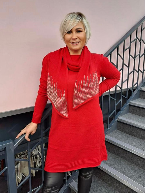 Knitted long jumper with sparkle scarf