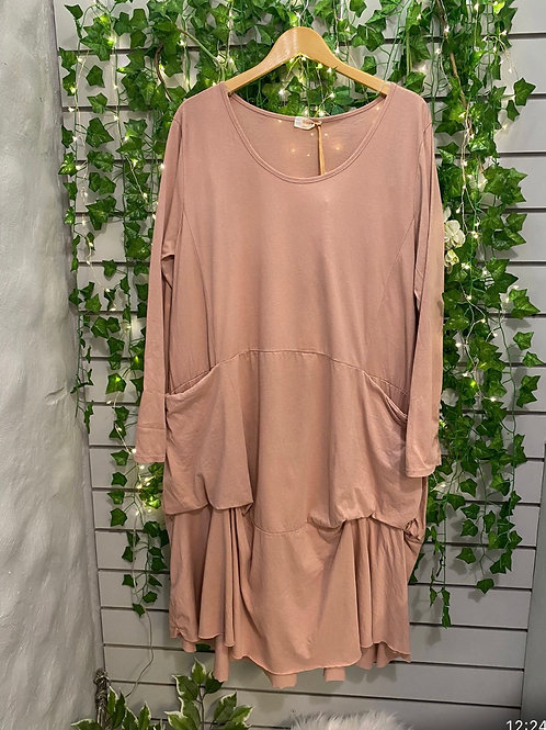 Slouch pocket dress dusky pink