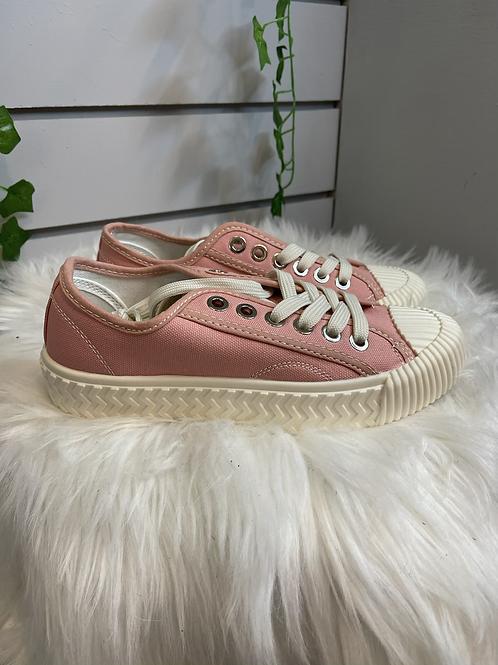 Pink Lace up pumps