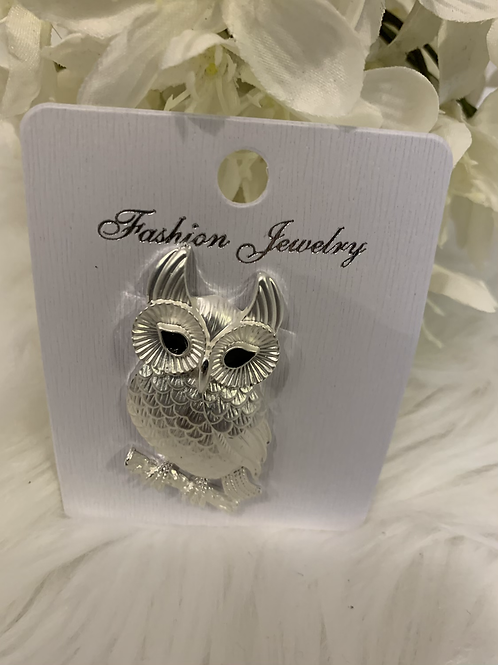 Silver owl on a branch magnetic brooch