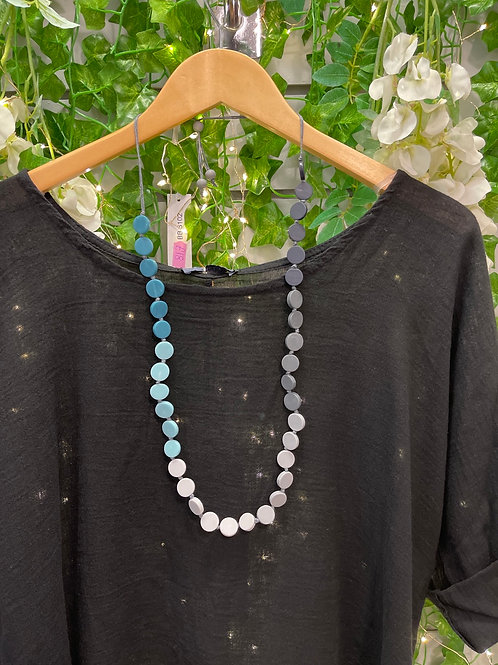 Teal and grey disc necklace