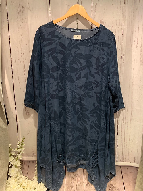 Denim flower tunic