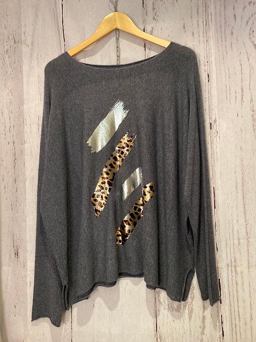 Stripe leapord print jumper