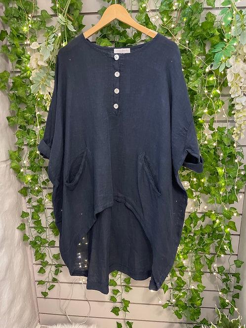 Button high low shirt  navy