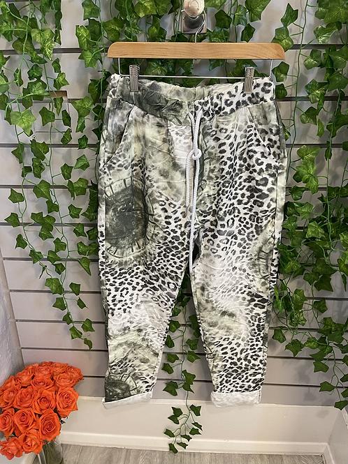 Leopard tie dye patterned magic trousers
