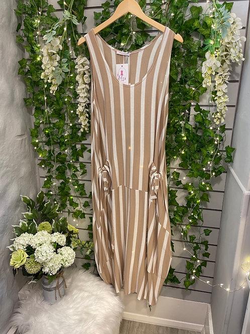 Stripy dress beige