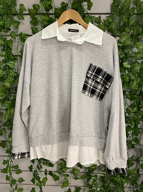 Shirt jumper with check pocket