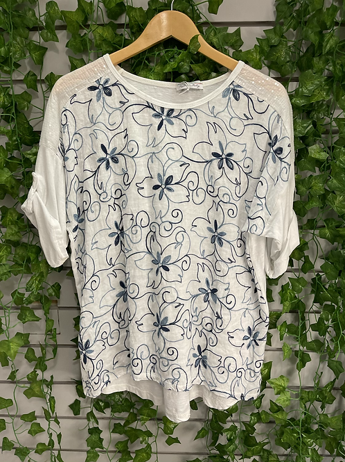 Flower embroidered top